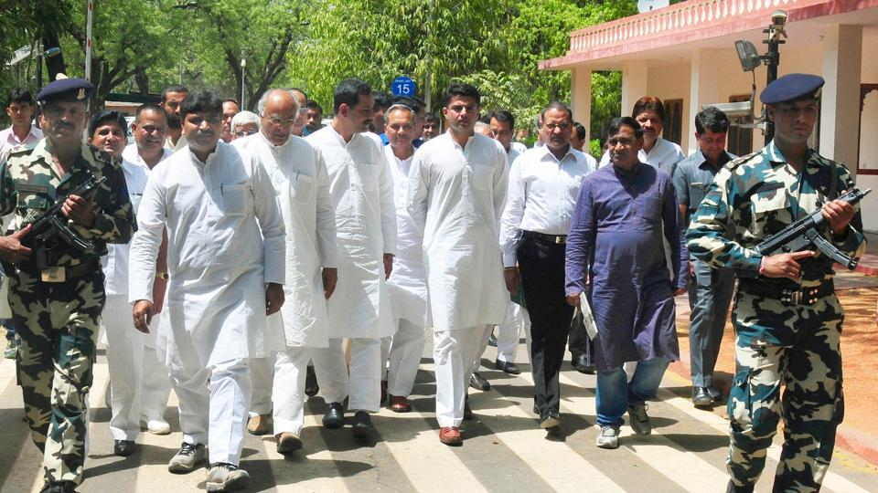 Congress leaders returns after submitting a memorandum with governor Kalyan Singh in Jaipur on Friday.