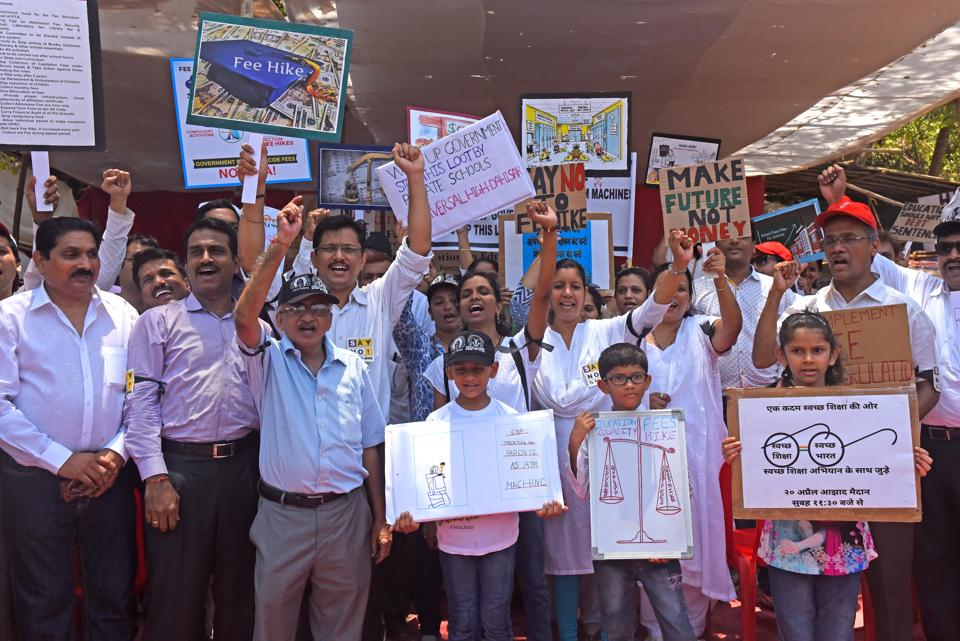 Parents and children protested against the exorbitant fee hike last month as well.
