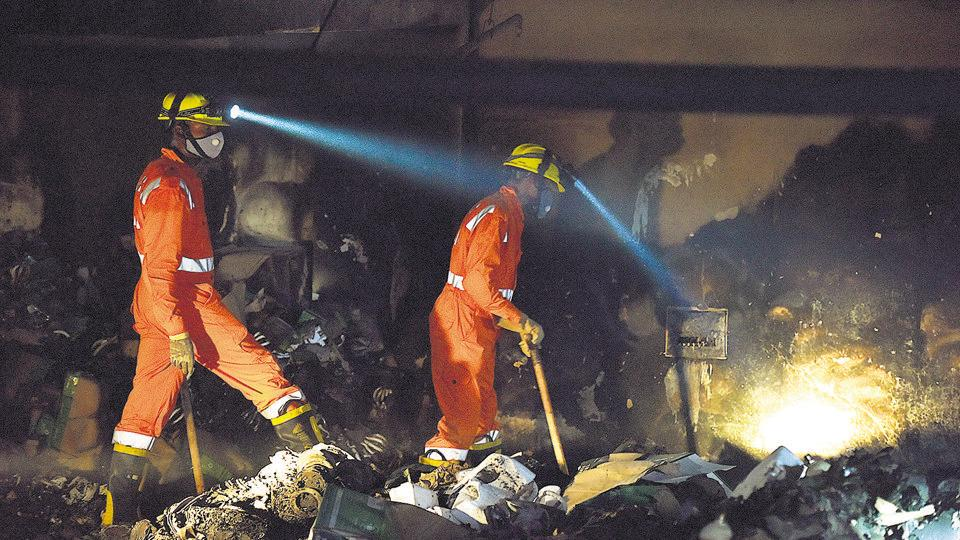 Six employees of a factory that deals with the packaging of CFLs were burnt to death in a fire that engulfed the building in Noida's Sector 11 on Wednesday.