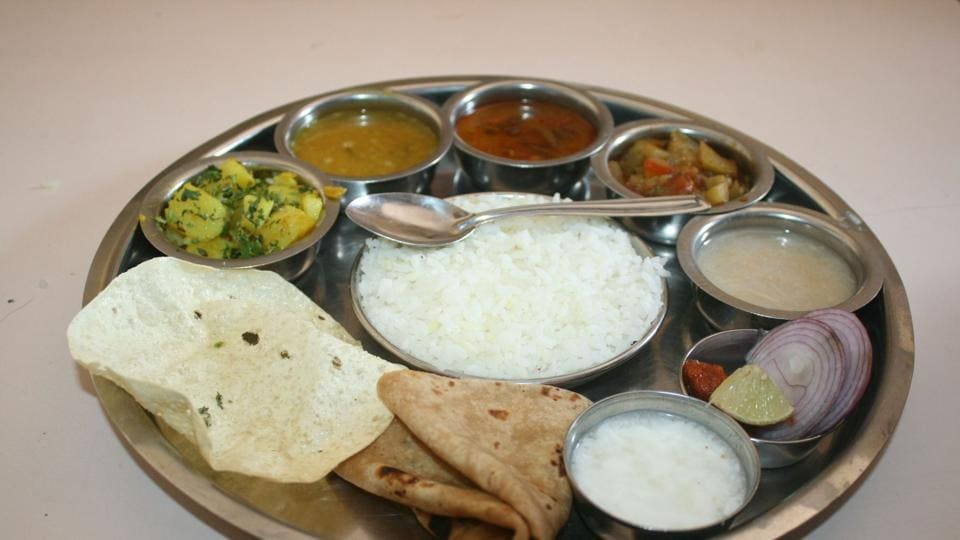 A traditional Indian vegetarian thali.