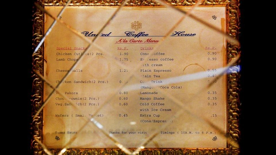 One of the first menu cards at United Coffee House. There were limited items on the menu with very low costs and it was the first to introduce a multi-cuisine menu. Even today it retains the Old Delhi, Indian street foods and Victorian era food items. (Anmol Wahi/HT Photo)