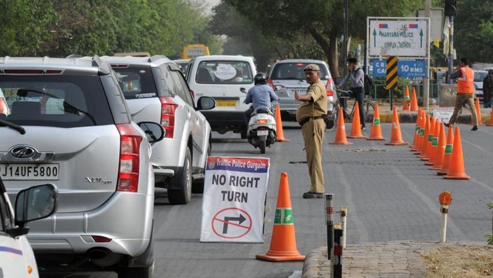 traffic cones,HUDA City Center Metro station,Gurgaon police