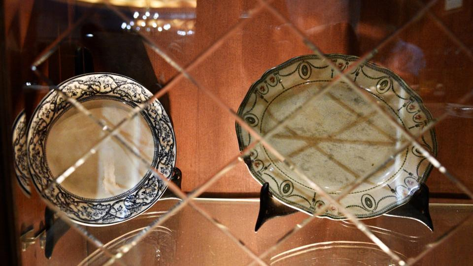 Victorian-era plates on display that were among the first ever used at the United Coffee House. (Anmol Wahi/HT Photo)