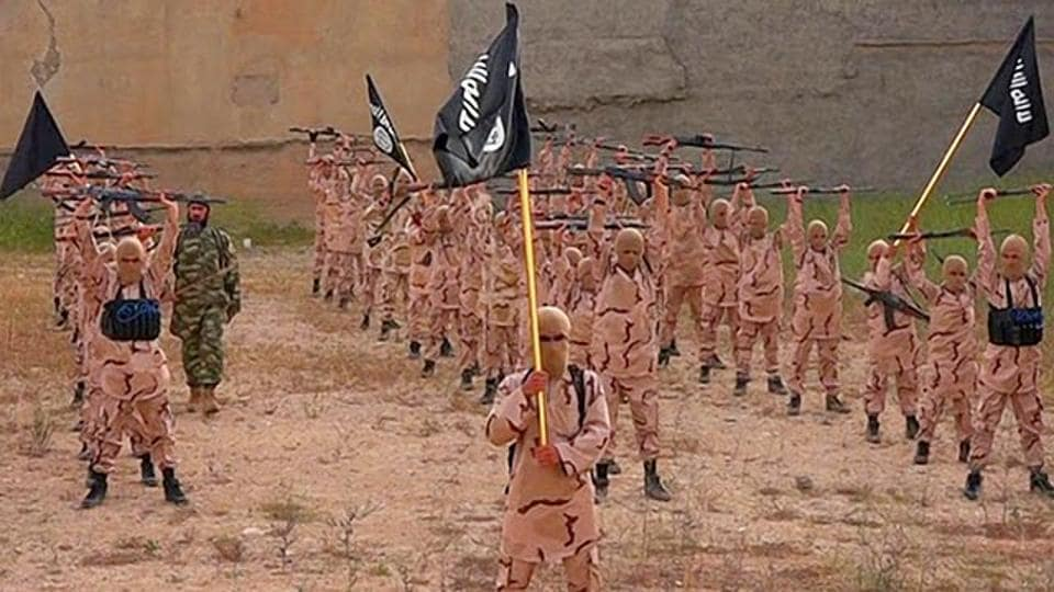 "In this photo released on April 25, 2015, by a militant website, young boys known as the ""lion cubs"" hold rifles and Islamic State group flags as they exercise at a training camp in Tal Afar, near Mosul, northern Iraq.  Two men in India pleaded guilty to conspiring for the terror outfit."