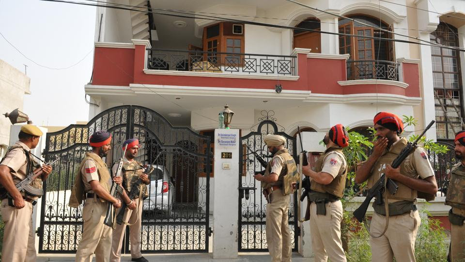 Police officials during the search operation in Hardayal Nagar area near PIMS in Jalandhar on Friday.