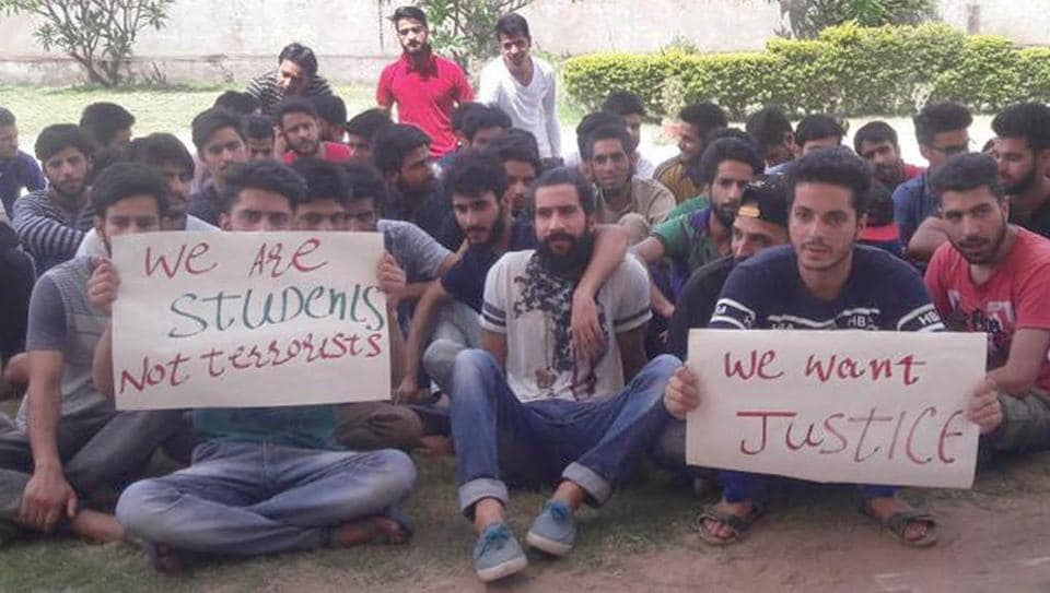 Kashmiri students protest at Mewar University in Chittorgarh.