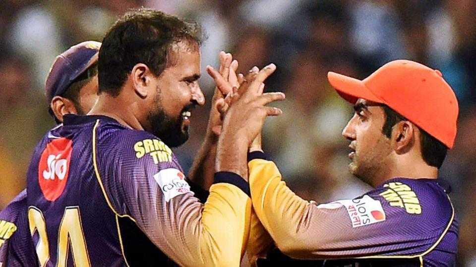 Kolkata: KKR Captain Gautam Gambhir celebrates with Yusuf Pathan during an IPL match against Sunrisers Hydrabad at Eden Garden in Kolkata on Saturday. PTI Photo by Ashok Bhaumik(PTI4_15_2017_000161A)