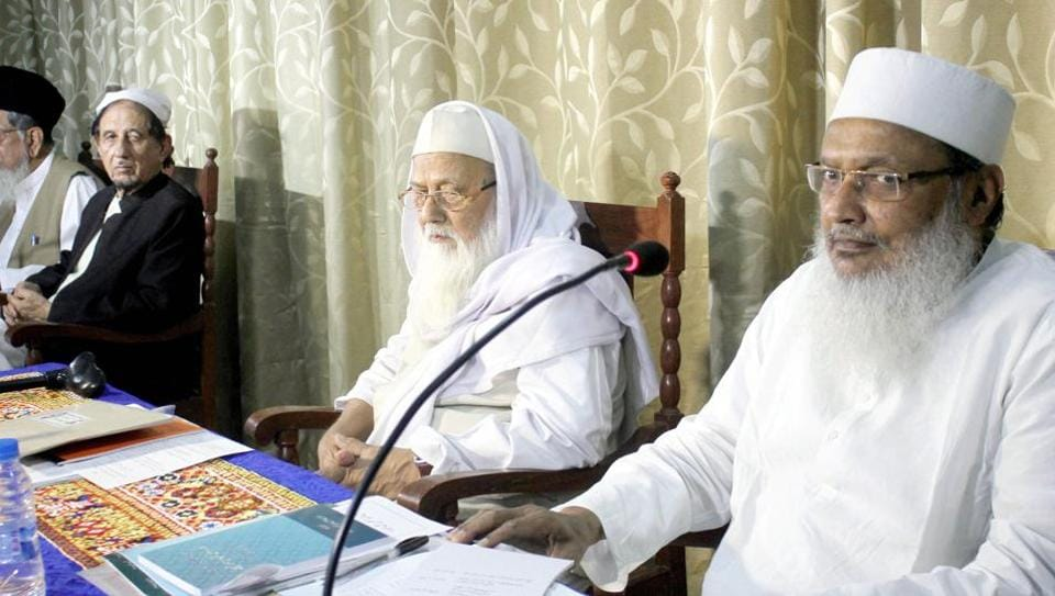 Maulana Wali Rahmani (Gen Sec AIMPLB) with Maulana Rabey Hasani Nadvi, (President AIMPLB) and Maulana Kalbe Sadiq ( Vice President AIMPLB) during the All India Muslim personal Law board meeting on the triple talaq issue at Darul Uloom Nadvatul Ulema (Nadva College) in Lucknow on April 15.
