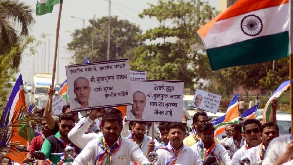 MNS supporters take out a bike rally in Navi Mumbai on Sunday to protest the death sentence awarded to Kulbhushan Jadhav.