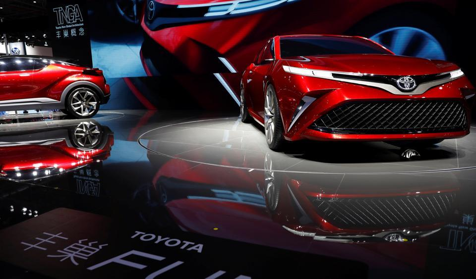 Toyota concept vehicles are displayed at the Shanghai Auto Show.