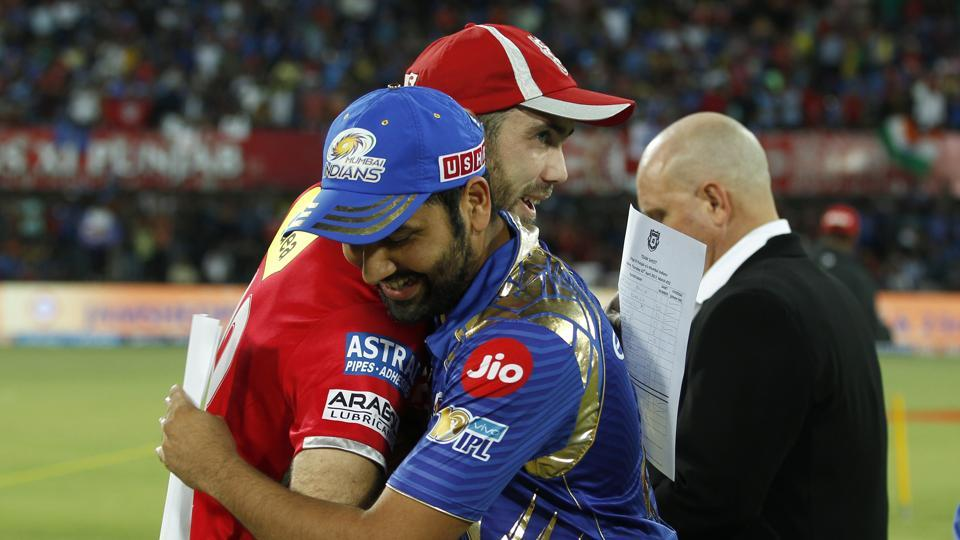 Mumbai Indians captain Rohit Sharma (right) and Kings XI Punjab captain Glenn Maxwell during the toss. (BCCI)
