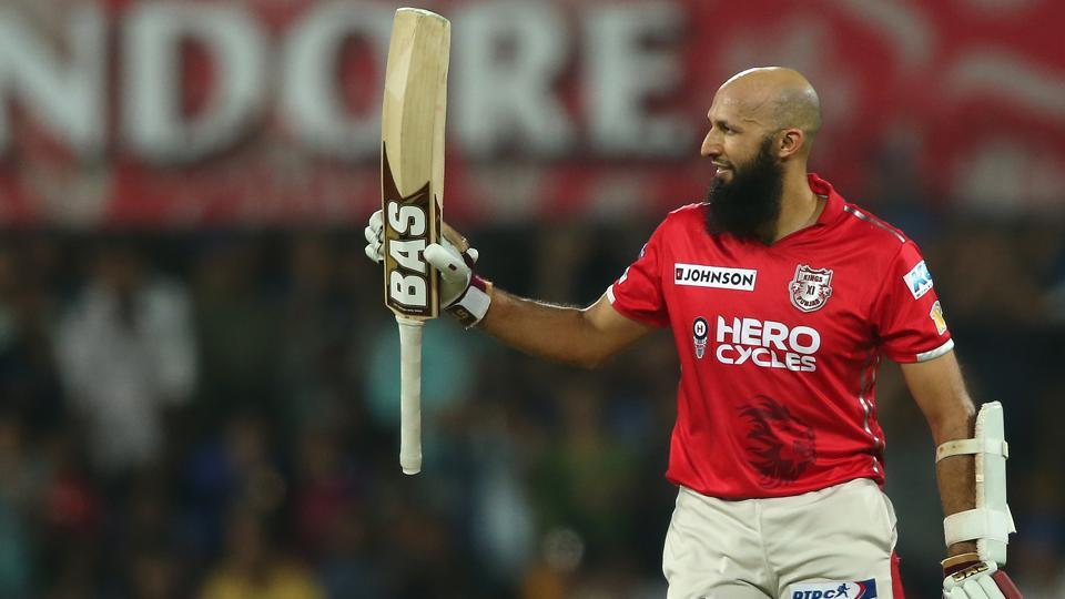 Hashim Amla went on to score his maiden IPL ton, ultimately scoring 104 off 60 balls.  (BCCI)