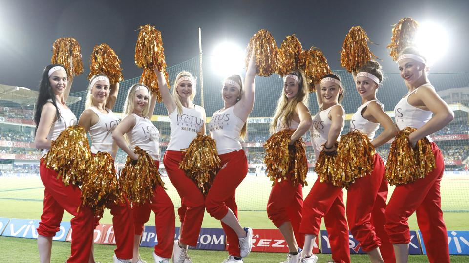 Kings XI Punjab cheerleaders pose during the 2017 Indian Premier League match against Mumbai Indians in Indore on Thursday.  (BCCI)