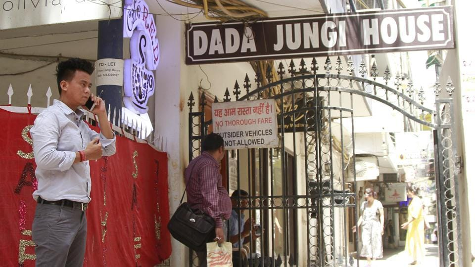 The entrance of the Dada Jungi House Lane in  Shahpur Jat.