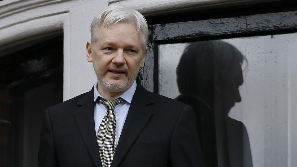 WikiLeaks founder Julian Assange speaks from the balcony of the Ecuadorean Embassy in London in 2016.