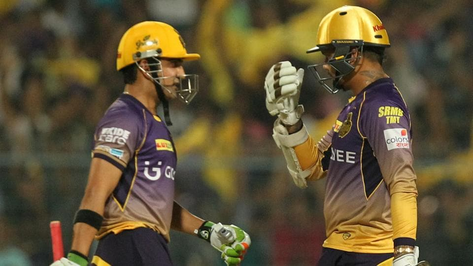 At one time, KKR were 45/0 with Sunil Narine (right) on 42. Captain Gautam Gambhir was happy to play the subdued role when Narine went full blast.  (BCCI)