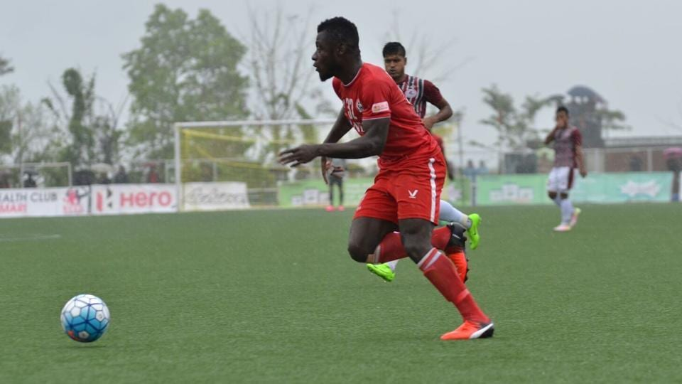 Aizawl FC players make a counter-offensive during their I-League match against Mohun Bagan on Saturday.