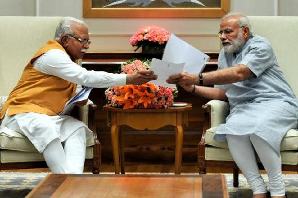 Haryana chief minister Manohar Lal Khattar in a meeting with Prime Minister Narendra Modi.