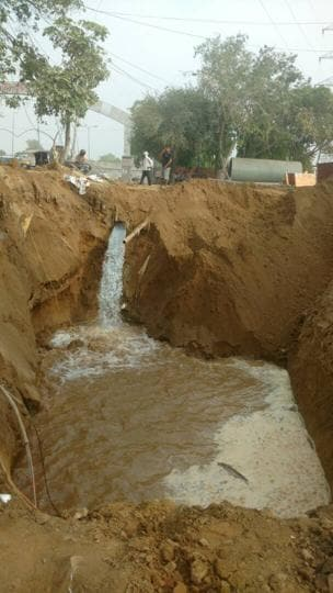 The pipeline is believed to have burst during the ongoing construction of the underpass at Rajiv Chowk.