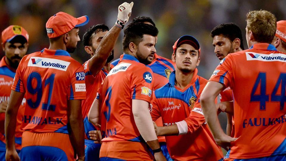 Suresh Raina-led Gujarat Lions players celebrate after the dismissal of a Kolkata Knight Riders player in an Indian Premier League (IPL) 2017 match.