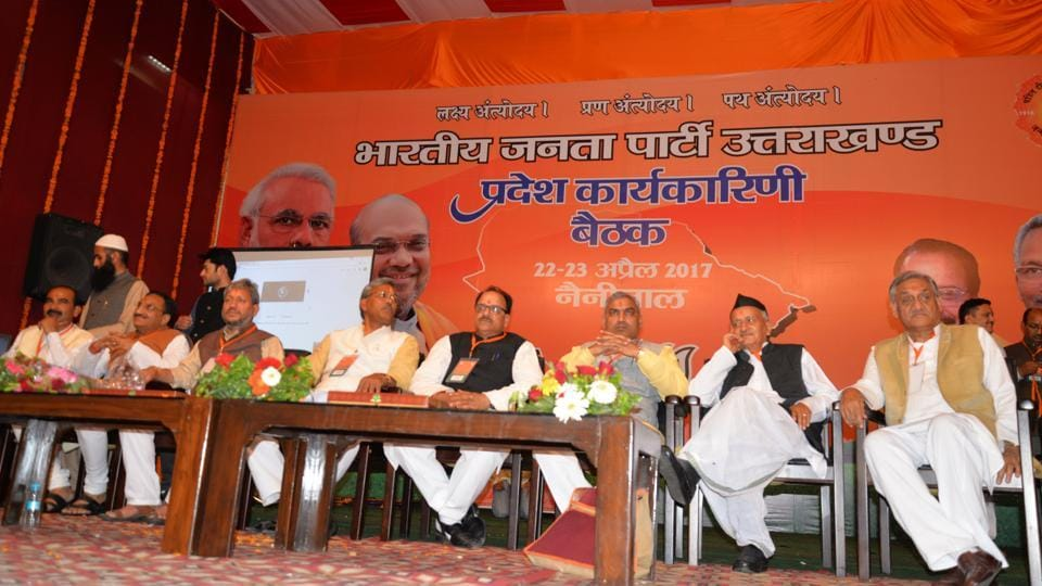 Chief minister Trivendra Singh Rawat and other BJP leaders at the party's state working committee meeting  in Nainital on Saturday