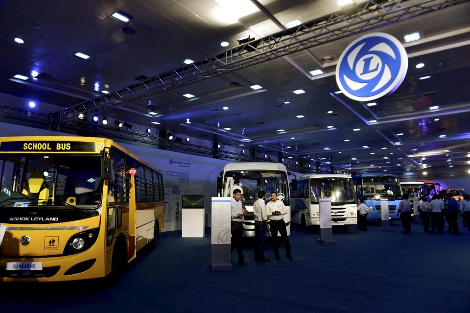 Visitors having a look at Ashok Leyland's range of trucks displayed at the Auto Expo in Chennai on Friday.