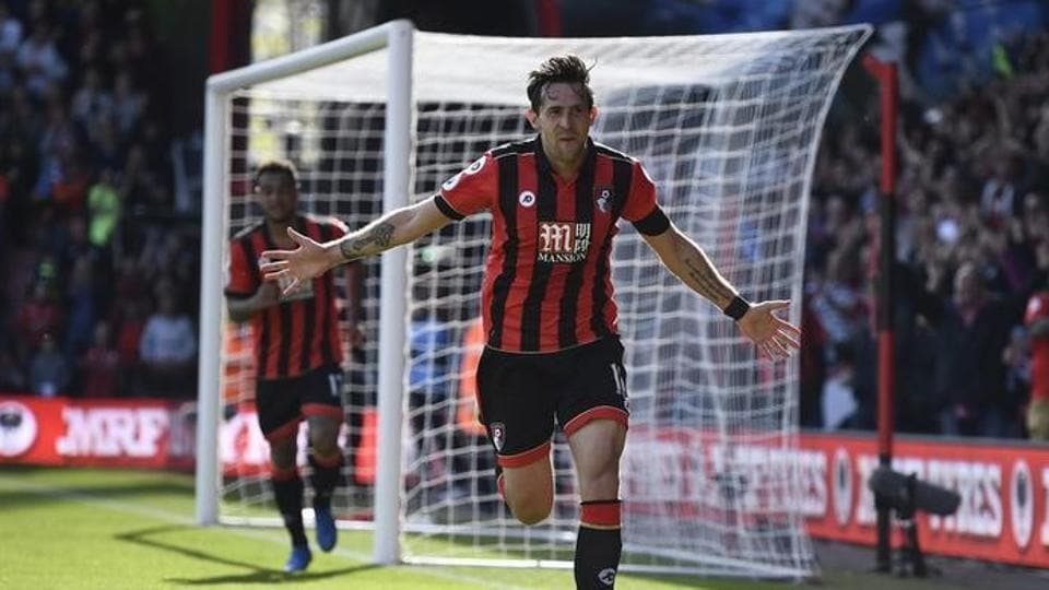 Bournemouth's Charlie Daniels celebrates scoring their fourth goal against Middlesbrough in their Premier League match on Saturday.