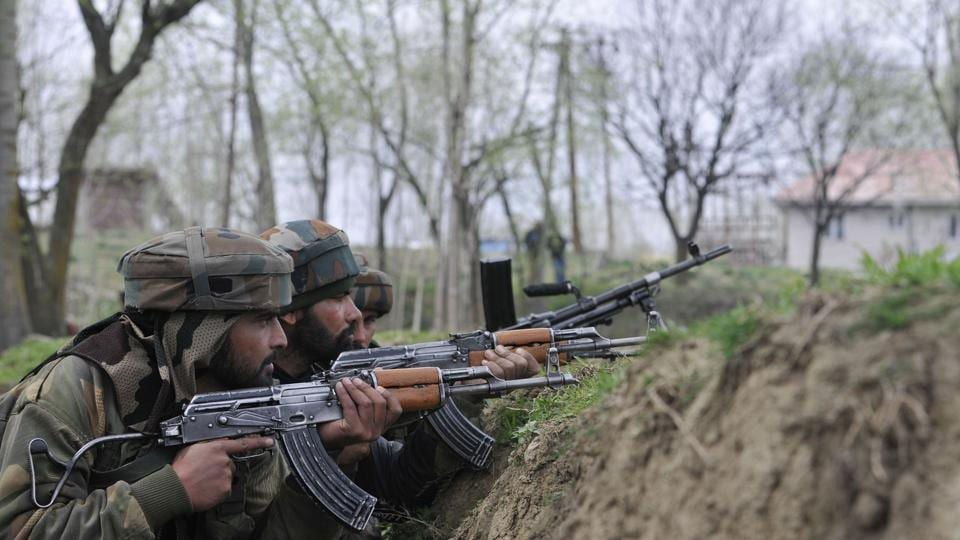 Reinforcements have been rushed to the village which was cordoned off to flush out the militants.