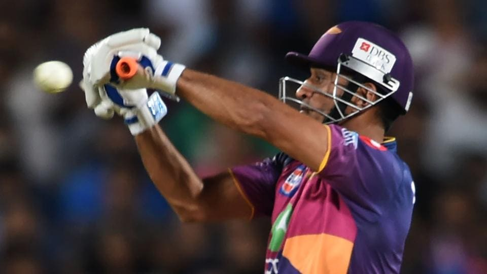 Rising Pune Supergiant's MSDhoni sends one to the ropes during the 2017 Indian Premier League (IPL) match against Sunrisers Hyderabad at the Maharashtra Cricket Association Stadium in Pune on Saturday.