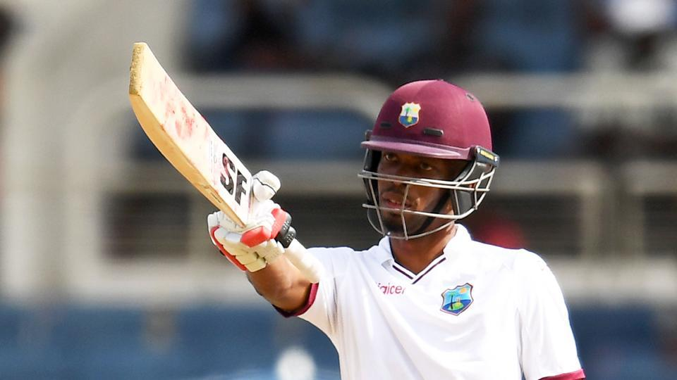 West Indies batsman Roston Chase reacts after scoring his half century on day one of the first Test against Pakistan. Get full cricket score of West Indies vs Pakistan, first Test, Day 1 at Kingston.