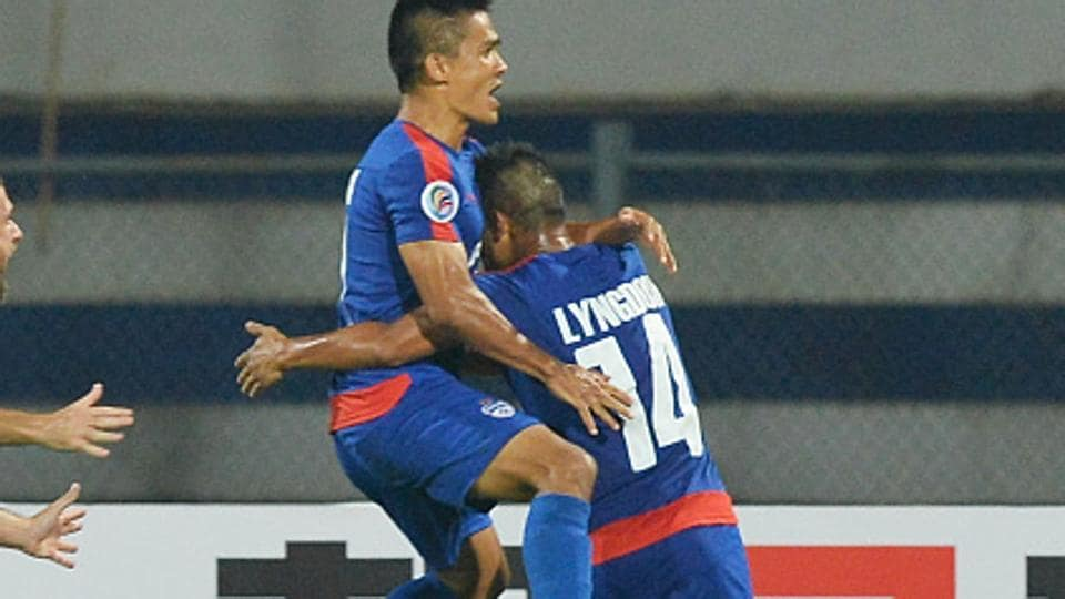 Sunil Chhetri (left) scored twice while Eugeneson Lyngdoh then scored a left-footed scorcher in Bengaluru FC's big win over DSKShivajians in the I-League on Saturday.