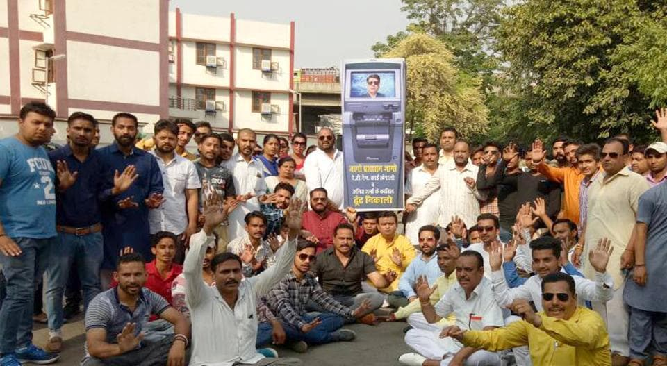 Members of Punjab Shiv Sena protesting near Clock Tower in Ludhiana on Friday.