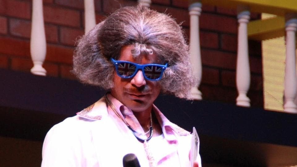 Sunil Grover performing Dr. Mashoor Gulati's Comedy Clinic in New Delhi on April 2.