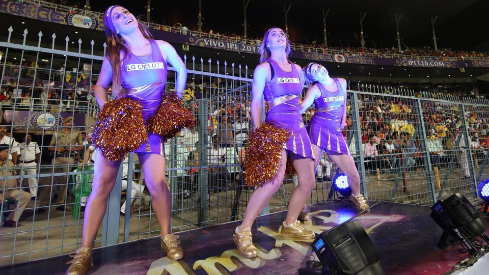 KKR cheergirls performing during the 2017 Indian Premier League match against Gujarat Lions at Eden Gardens, Kolkata on Friday.  (BCCI)