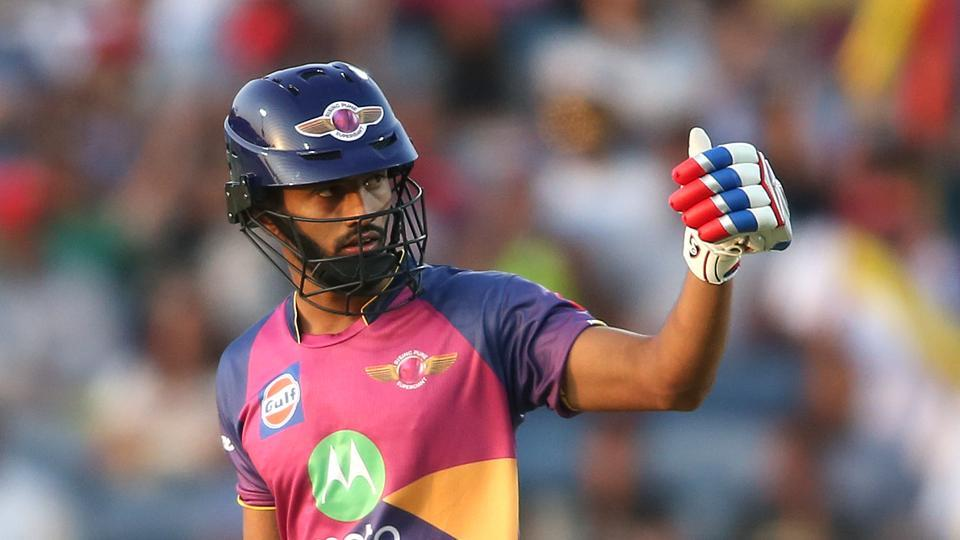 Rahul Tripathi of Rising Pune Supergiant after reaching his fifty in their 2017 Indian Premier League match against Sunrisers Hyderabad at the MCA Stadium in Pune on Saturday.