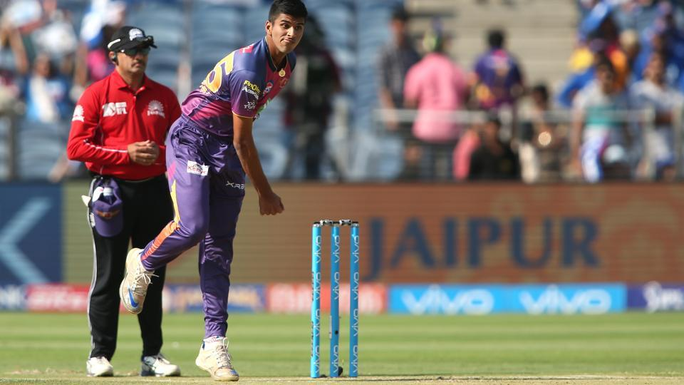 Washington Sundar of Rising Pune Supergiant sends down a delivery during the 2017 Indian Premier League match against Sunrisers Hyderabad at the MCA Stadium in Pune on Saturday.