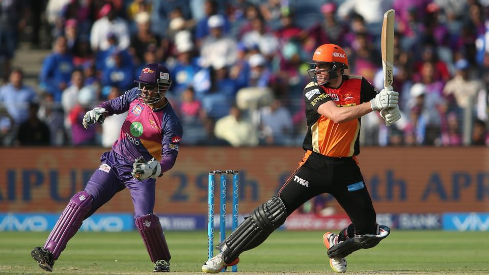 Moises Henriques rose to the occasion as his fiery 55* propelled Sunrisers Hyderabad to 176/3. The Australian all-rounder shared a 47-run stand off just 21 balls with Deepak Hooda after the dismissal of Warner for 43.  (BCCI )