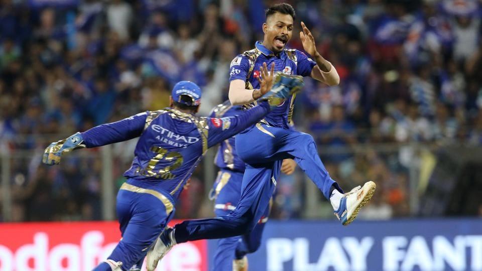 Hardik Pandya of Mumbai Indians celebrates the wicket of Karun Nair of Delhi Daredevil during their 2017 Indian Premier League match at Wankhede Stadium in Mumbai on Saturday. Get full cricket score of Mumbai Indians vs Delhi Daredevils here.
