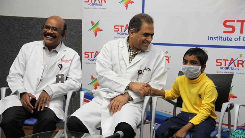 Yashwant with the doctors from Hyderabad's Star Hospitals, where the eight-year-old recently underwent a heart transplant  surgery.