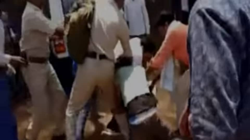 A police constable was beaten up by the family members of a local BJP politician for imposing fine on their two relatives for violating traffic rules, said a police officer on Sunday.