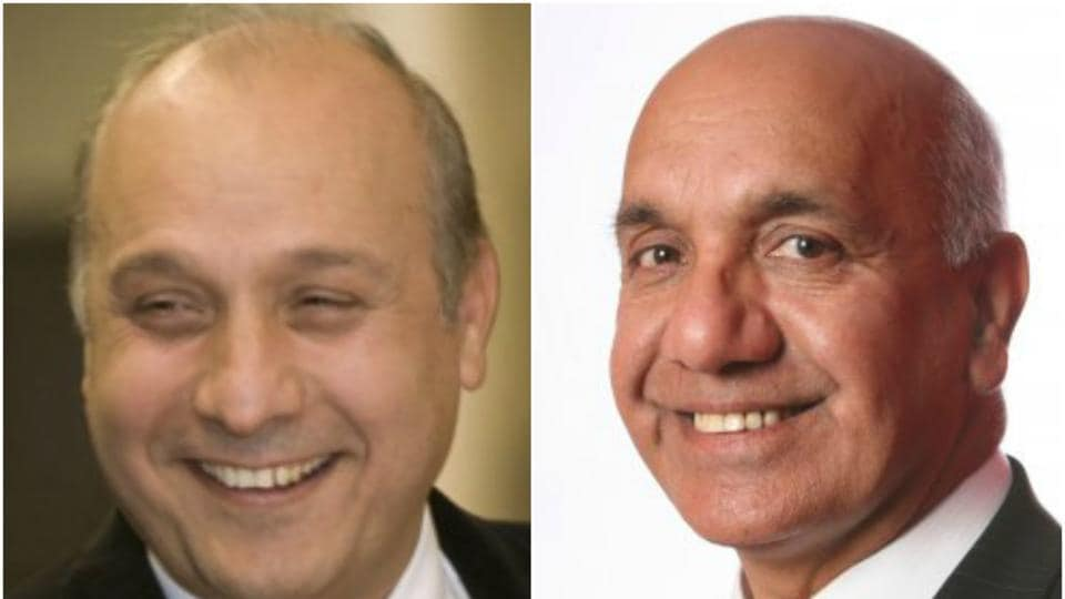 Surinder Arora (L), founder chairman of the Arora Hotels and Virendra Sharma, Labour MP from Ealing and Southall.