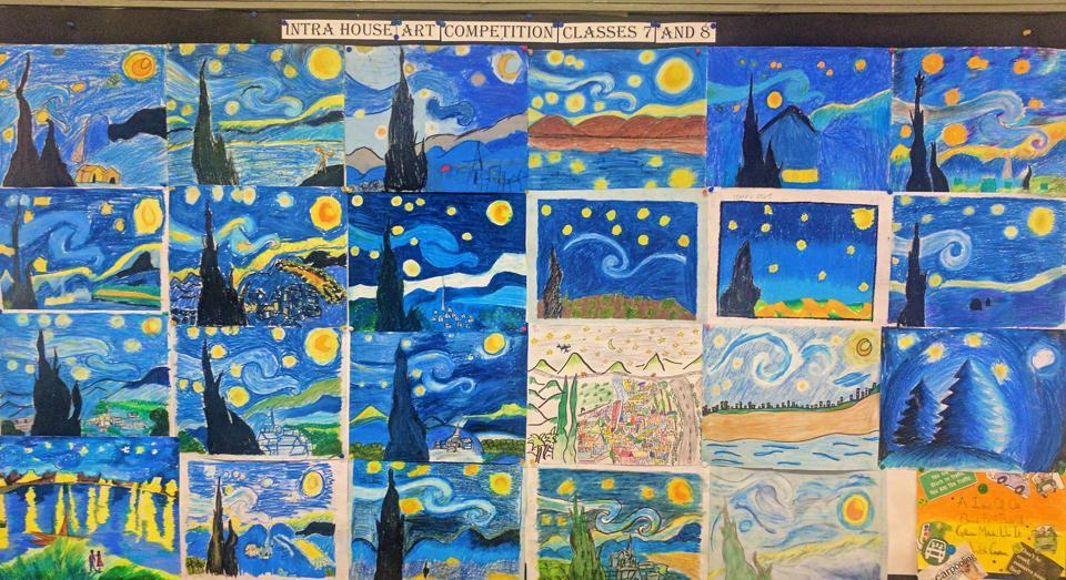 Paintings of 'The Starry Night' by students of Strawberry Fields High School, Chandigarh.