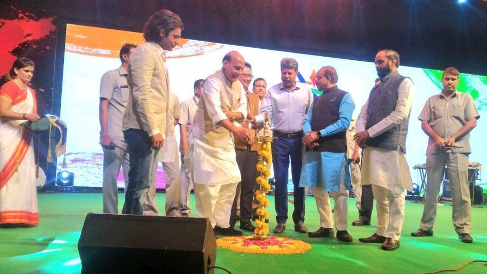 Union Home Minister Rajnath Singh along with other dignitaries during the unveiling of the logo and mascot of the talent hunt tournament.