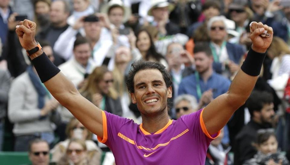 Spain's Rafael Nadal exults after winning his men's finals against Albert Ramos-Vinolas at the Monte Carlo Masters tennis tournament in Monaco on Sunday