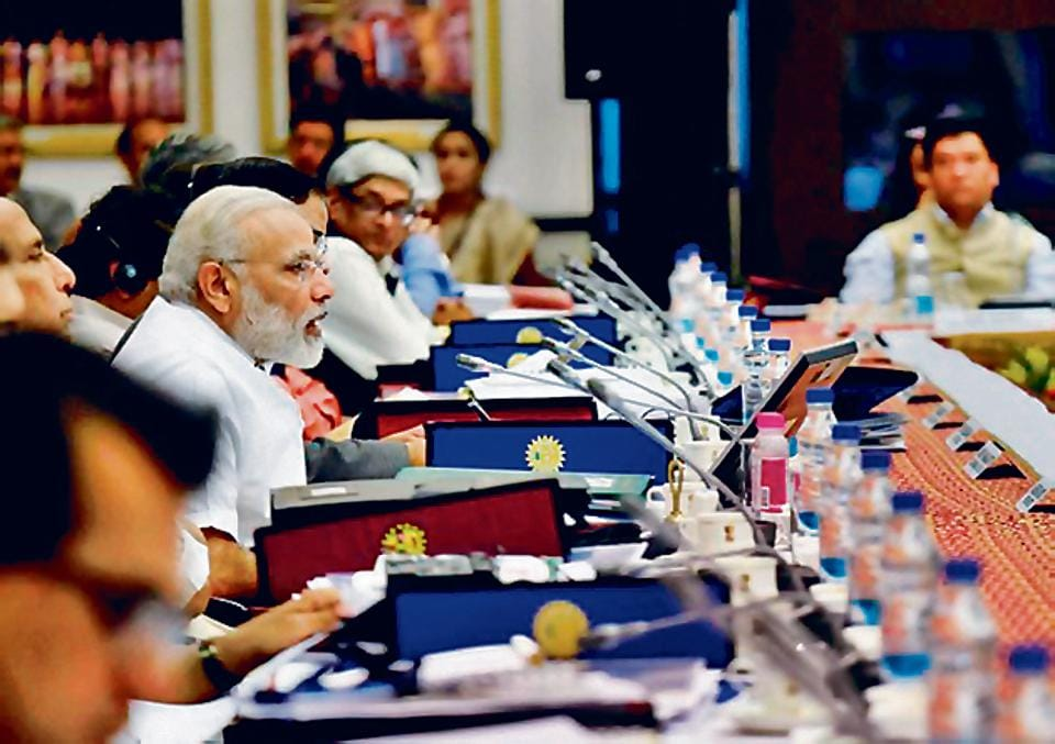 Prime Minister Narendra Modi chairs the third Governing Council Meet of the NITI Aayog in New Delhi on Sunday.