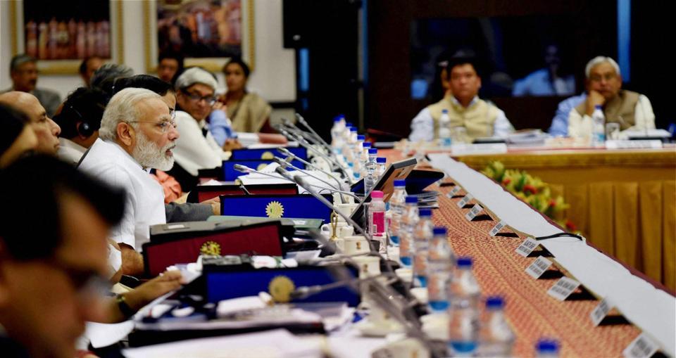 Prime Minister Narendra Modi at a NITI Aayog meet in New Delhi.