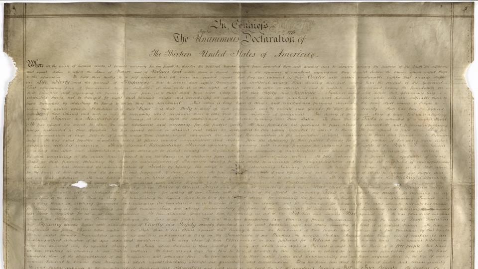 Undated handout photo of a parchment manuscript of the US Declaration of Independence.