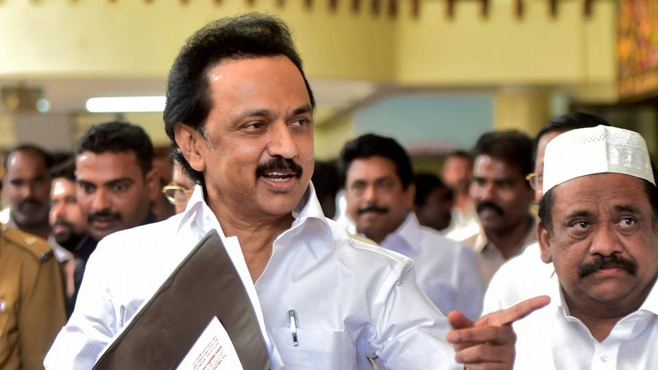 "DMK Working President M K Stalin arrives to attend an ""all party meeting,"" to discuss the problems of Tamil Nadu farmers in Chennai on Sunday."