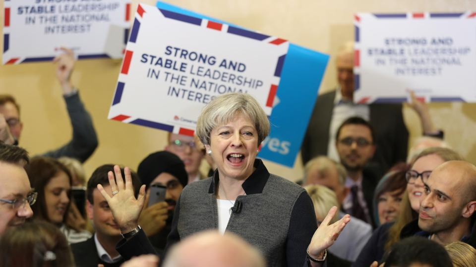 Britain's Prime Minster Theresa May delivers a stump speech at Netherton Conservative Club during the Conservative Party's election campaign, in Dudley on April 22, 2017.