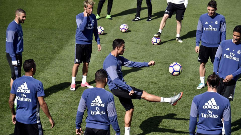 Real Madrid practice ahead of their much anticipated La Liga clash against Barcelona at the Valdebebas training ground in Madrid on the eve of El Clasico.
